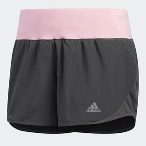 Adidas | Run It shorts in gray and light pink.